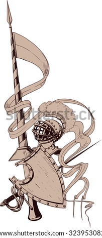 knightly emblem with spears with helmet, sword and shield and the flag with an empty place - stock photo