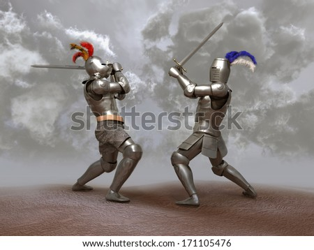 Knights fight - stock photo