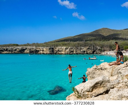 Knip Beach - On the Caribbean Island of Curacao in the Dutch Antilles