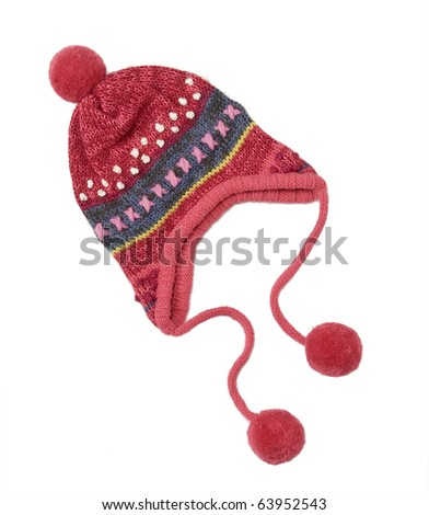 knit hat for little girls, with tassel and nect strap on white background - stock photo