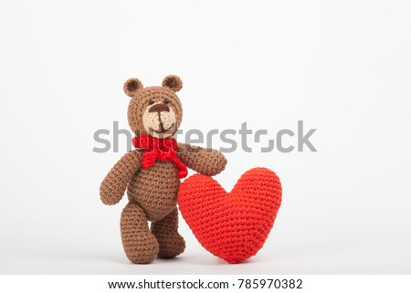 Knitted Bear With A Heart. St. Valentineu0027s Day Decor. Knitted Toy, Amigurumi