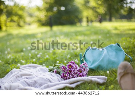 knitted blanket, purple flowers and turquoise woman handbag laying on green grass in summer. selective focus, bokeh background. Moment of rest, close to nature,summer activity . nobody - stock photo
