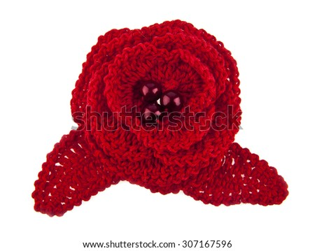 knitted handmade flower isolated on white background - stock photo