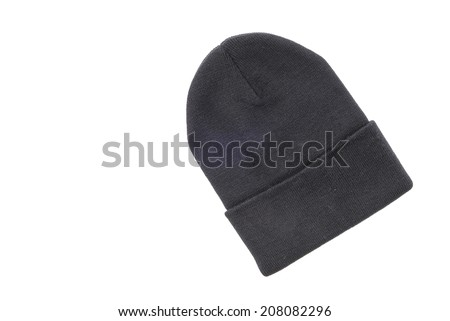 Knitted hat isolated on white - stock photo