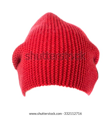 knitted hat isolated on white background . - stock photo
