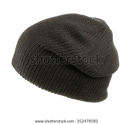 knitted hat isolated on white background .black .