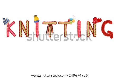 knitted letters with knitted hat,scarf, gloves - stock photo