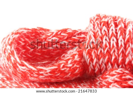 Knitted scarf isolated on a white background - stock photo