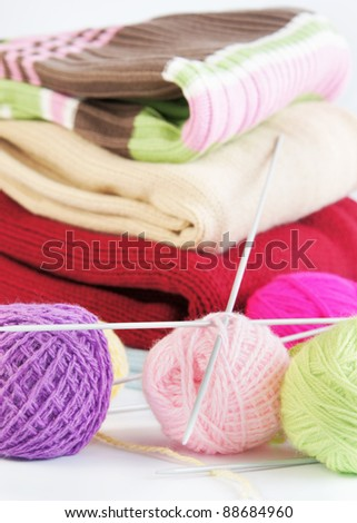 Knitted things - stock photo