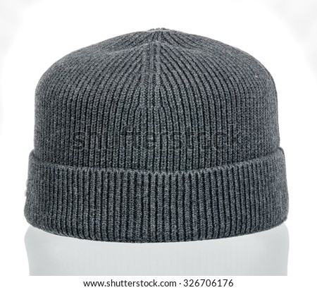 knitted wool hat with isolated on white background - stock photo