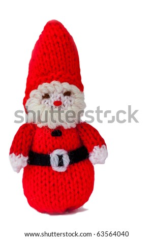 Knitted Woollen Father Christmas isolated on white - stock photo