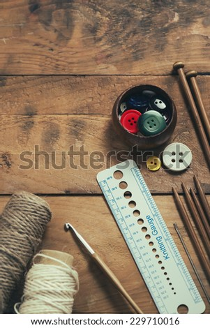 Knitting and sewing supplies - stock photo