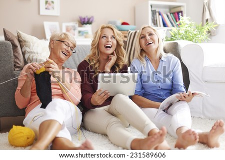 Knitting, digital technology or newspapers- everyone likes something different - stock photo