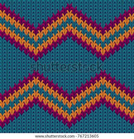 Knitting Pattern Zigzag Stripes Image Textile Stock Illustration