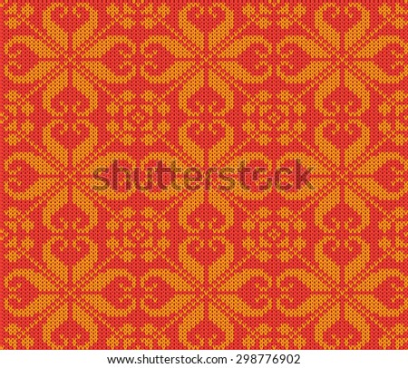 knitting seamless background: christmas ornament