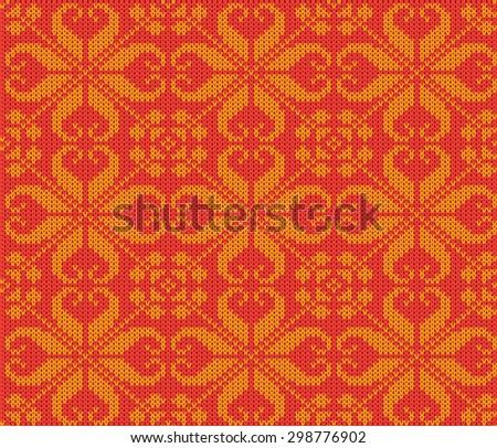 knitting seamless background: christmas ornament - stock photo