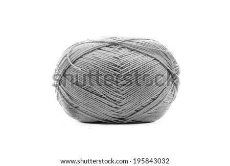 Knitting wool Accessories. grey color Yarn Balls isolated on white background - stock photo