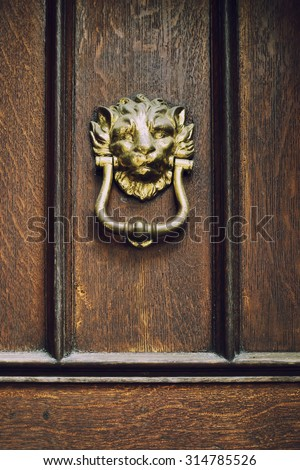 Knocker made of brass shaped as lion's head on solid wood door. - stock photo