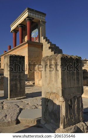 Knossos at Crete, Greece Knossos Palace, is the largest Bronze Age archaeological site on Crete and is considered Europe's oldest city, the ceremonial and political center of the Minoan civilization - stock photo