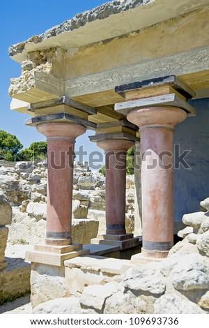 Knossos Minoan Palace in Crete, Greece - stock photo