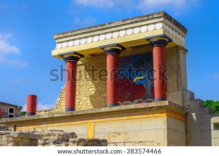 Knossos Palace at Crete, Greece, Bronze Age archaeological Site, Minoan Civilization - stock photo
