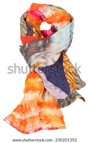 knot from patchwork and batik scarf isolated on white background - stock photo