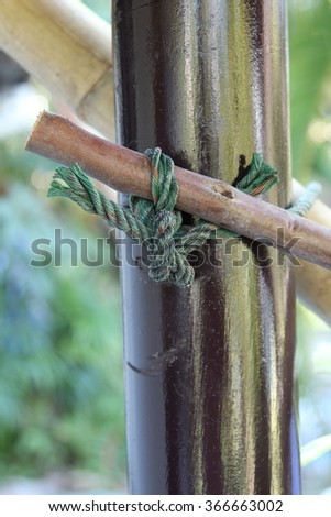 Knot rope for bamboo scaffold in construction site.