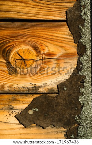 Knotty Pine Board Weathered Wood Asphalt Shingle Roofing Siding House - stock photo