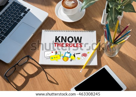 KNOW RULES Open Book On Table Stock Photo Download Now - Open table rules