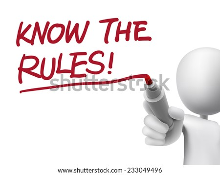 know the rules words written by 3d man over transparent board - stock photo