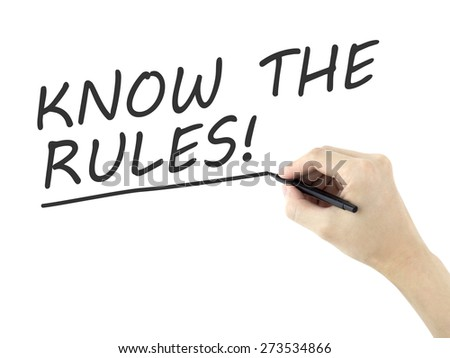 know the rules words written by man's hand over white background - stock photo