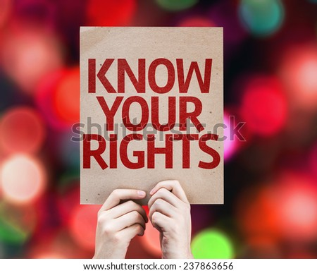 Know Your Rights card with colorful background with defocused lights - stock photo