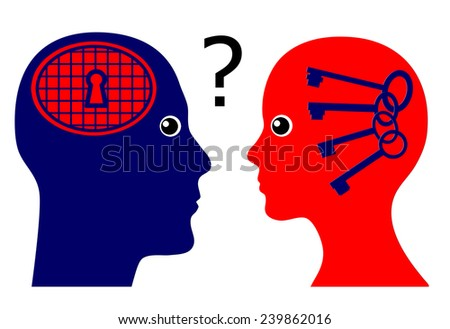 Knowing the Male Psyche. Concept sign of a woman rising psychological questions about the secrets of men - stock photo