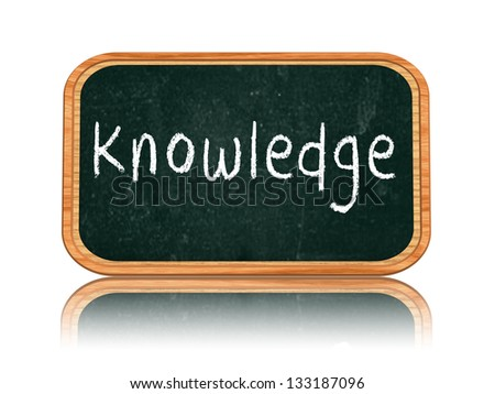 knowledge - chalk text on 3d isolated wooden blackboard banner - stock photo