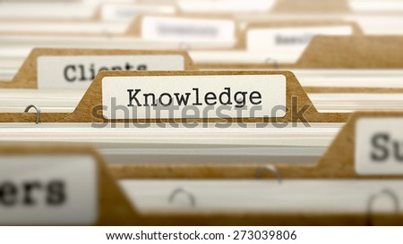 Knowledge Concept. Word on Folder Register of Card Index. Selective Focus. - stock photo