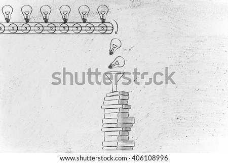 knowledge & ideas being dropped into books through a funnel, concept of innovation & progress through education - stock photo