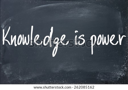 knowledge is power text write on paper  - stock photo