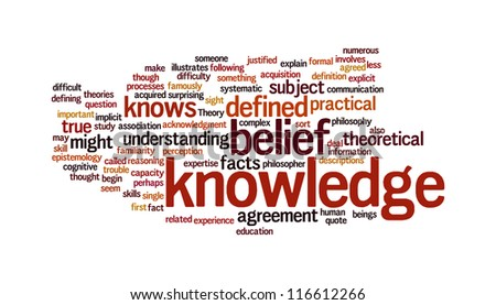 Knowledge related word in tag cloud on white background - stock photo
