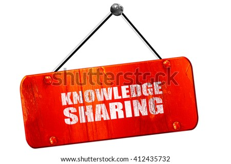 knowledge sharing, 3D rendering, vintage old red sign - stock photo