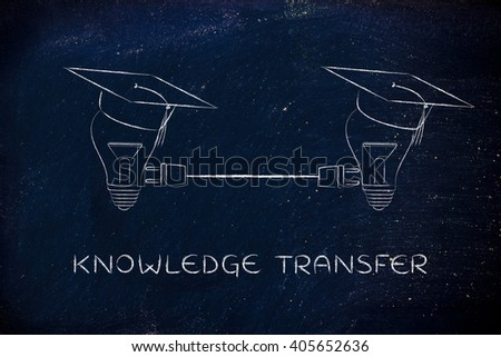 knowledge transfer: lightbulbs with graduation cap connected with double plug, concept of sharing ideas and knowledge - stock photo