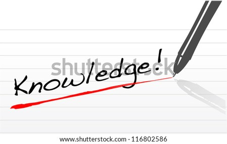 knowledge written on a notepad paper and a pen illustration - stock photo