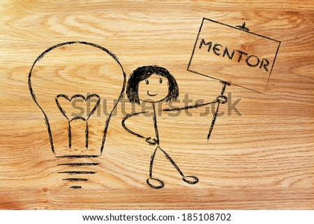 knowledgeable girl holding a sign saying mentor - stock photo