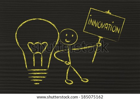 knowledgeable man holding a sign saying innovation - stock photo