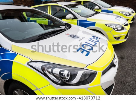 KNUTSFORD, CHESHIRE - FEB 2: Exterior view of cars parked at Knutsford police station on Feb 2nd, 2016 in Cheshire, UK. Served by the Cheshire constabulary. - stock photo