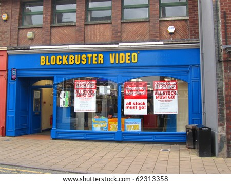 KNUTSFORD, ENGLAND - SEPTEMBER 18: Closing Down Sale at Blockbuster Video September 18, 2010 in Knutsford, England. Photo illustrates recession hitting the UK economy, even in this affluent area. - stock photo