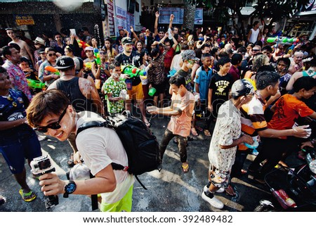 KO SAMUI, THAILAND - APRIL 13:  Unidentified people at the celebration of Songkran Festival (Thai New Year) on April 13, 2014 in Chaweng Main Road, Ko Samui island, Thailand.