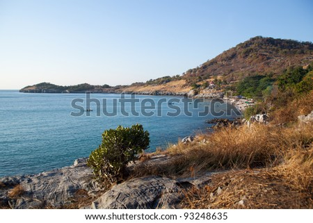Ko Si Chang island in Thailand. Travel by sea. Sea and sky blue colors. - stock photo