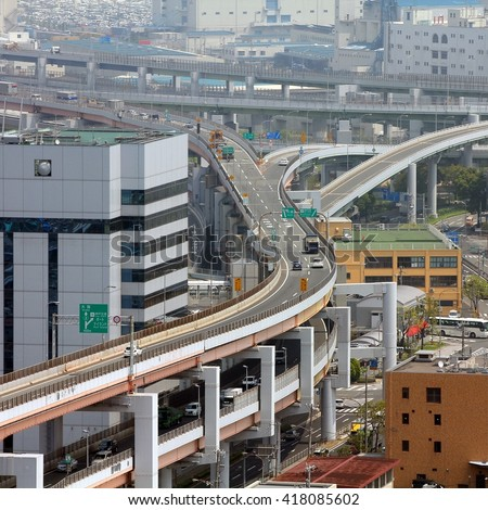Kobe, Japan - city in the region of Kansai in Hyogo prefecture. Multilevel road intersection of multiple freeways and highways.