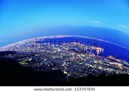 kobe night view - stock photo