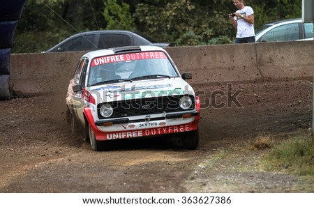 KOCAELI, TURKEY - AUGUST 23, 2015: Engin Kap with Ford Escort MK2 of Bonus Unifree Parkur Racing Team in Kocaeli Rally 2015 - stock photo